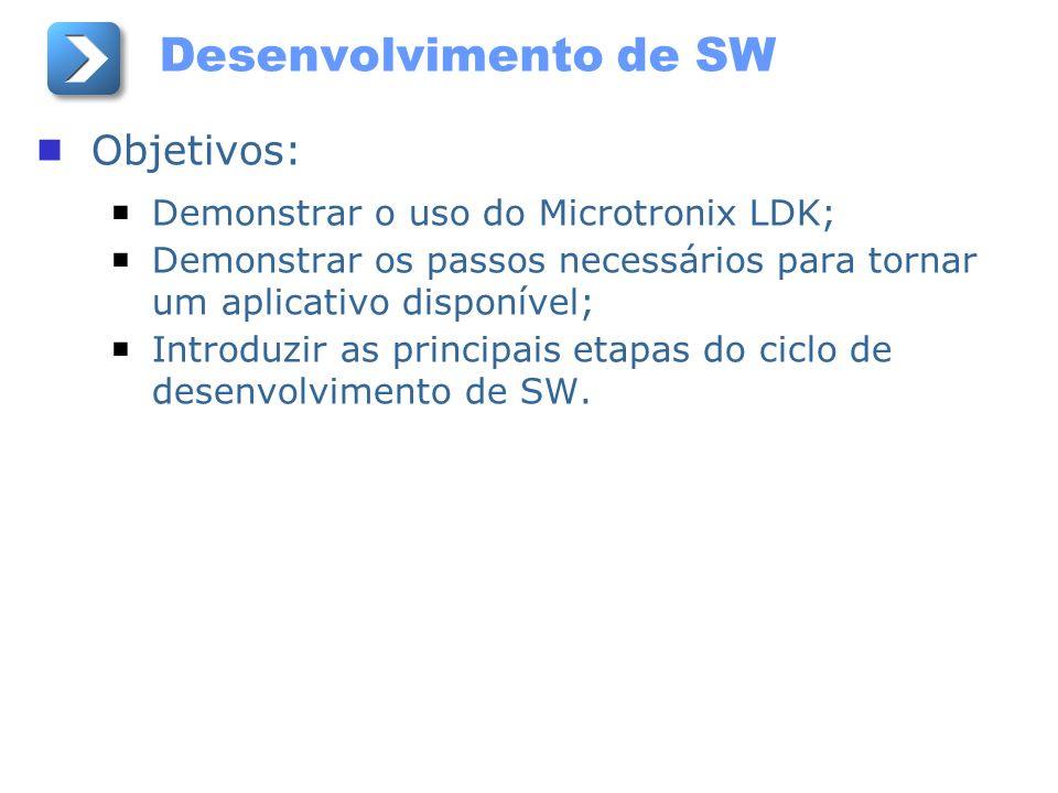 Desenvolvimento de SW Objetivos: Demonstrar o uso do Microtronix LDK; Demonstrar os passos necessários para tornar um aplicativo disponível; Introduzi