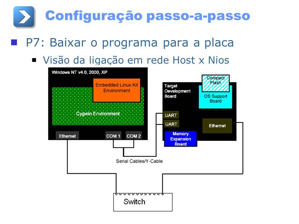 Configuração passo-a-passo P7: Baixar o programa para a placa Visão da ligação em rede Host x Nios