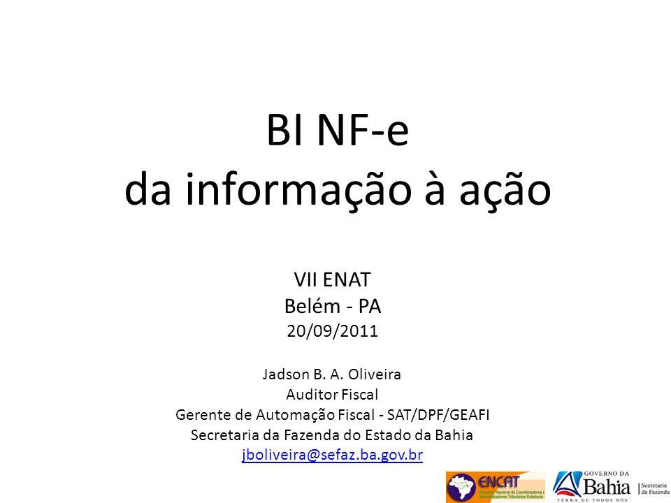 BI NF-e da informação à ação VII ENAT Belém - PA 20/09/2011 Jadson B. A. Oliveira Auditor Fiscal Gerente de Automação Fiscal - SAT/DPF/GEAFI Secretari