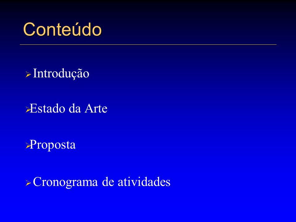 Conteúdo Introdução Estado da Arte Proposta Cronograma de atividades