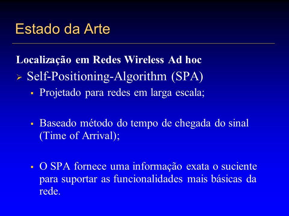 Estado da Arte Localização em Redes Wireless Ad hoc Técnica de posicionamento auto-configurável Utilização de marcos (nós selecionados pelo poder computacional e estabilidade); Seleção de marcos e semi-marcos; Posição dos marcos;