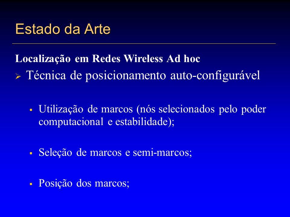 Estado da Arte Localização em Redes Wireless Ad hoc Técnica de posicionamento auto-configurável Utilização de marcos (nós selecionados pelo poder comp