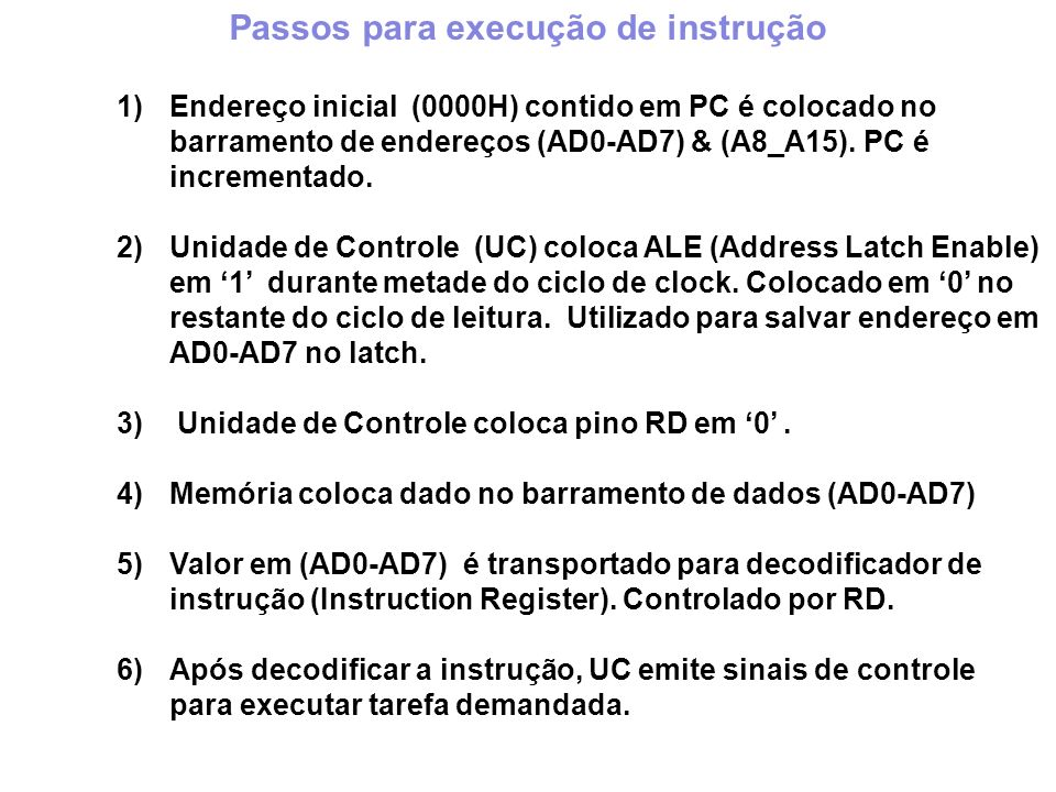 1)Endereço inicial (0000H) contido em PC é colocado no barramento de endereços (AD0-AD7) & (A8_A15).