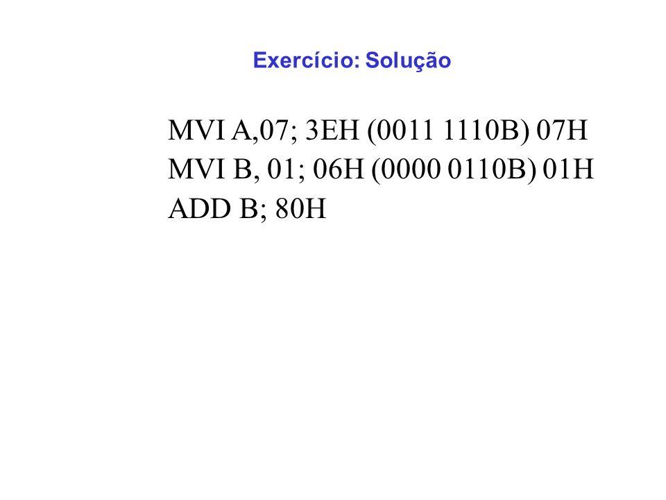 MVI A,07; 3EH (0011 1110B) 07H MVI B, 01; 06H (0000 0110B) 01H ADD B; 80H Exercício: Solução