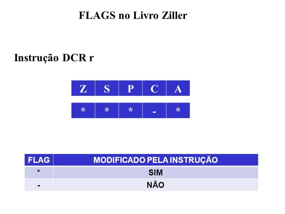 ZSPCA FLAGS no Livro Ziller FLAGMODIFICADO PELA INSTRUÇÃO *SIM -NÃO ***-* Instrução DCR r