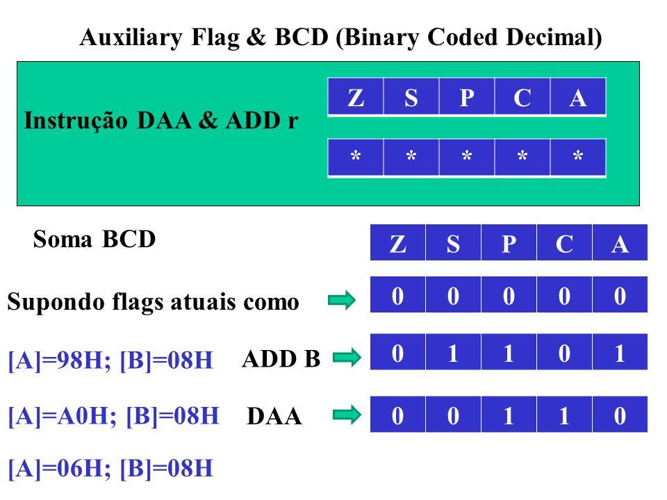 ZSPCA Auxiliary Flag & BCD (Binary Coded Decimal) ***** Instrução DAA & ADD r ZSPCA 00000 01101 [A]=98H; [B]=08H ADD B [A]=A0H; [B]=08H Soma BCD DAA [A]=06H; [B]=08H 00110 Supondo flags atuais como
