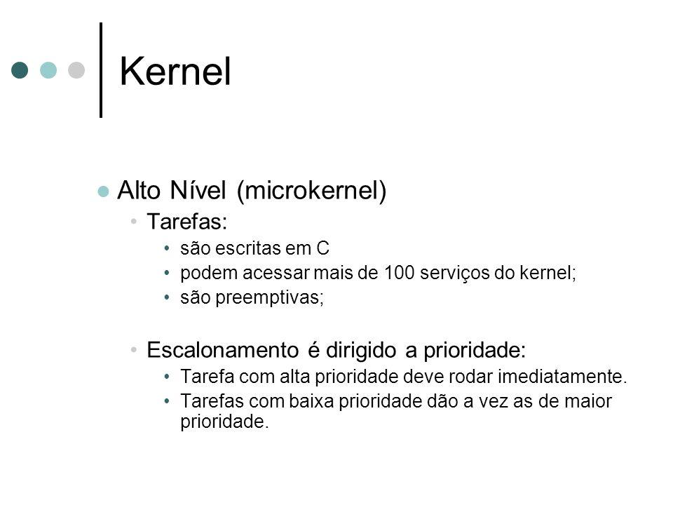 Kernel Alto Nível (microkernel) Tarefas: são escritas em C podem acessar mais de 100 serviços do kernel; são preemptivas; Escalonamento é dirigido a p