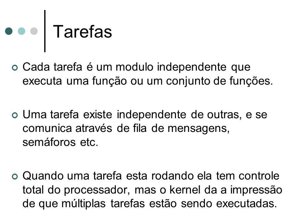 Tarefas Cada tarefa é um modulo independente que executa uma função ou um conjunto de funções. Uma tarefa existe independente de outras, e se comunica