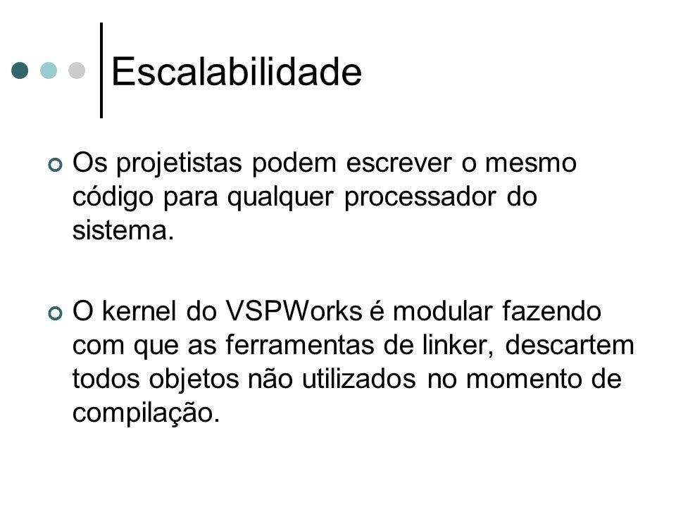 Escalabilidade Os projetistas podem escrever o mesmo código para qualquer processador do sistema. O kernel do VSPWorks é modular fazendo com que as fe