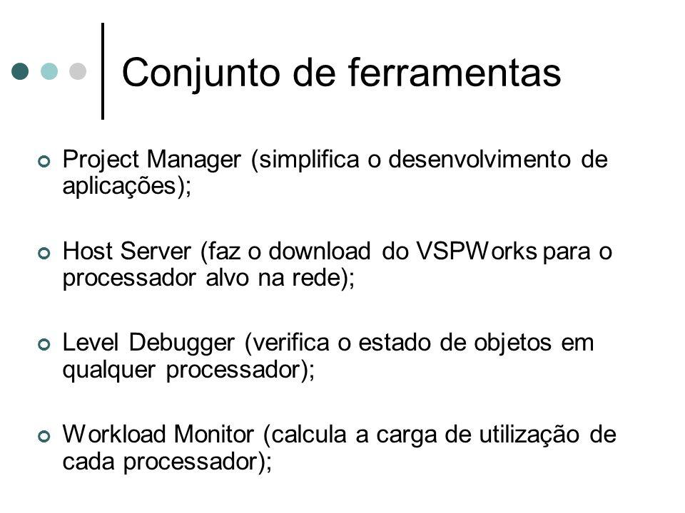 Conjunto de ferramentas Project Manager (simplifica o desenvolvimento de aplicações); Host Server (faz o download do VSPWorks para o processador alvo