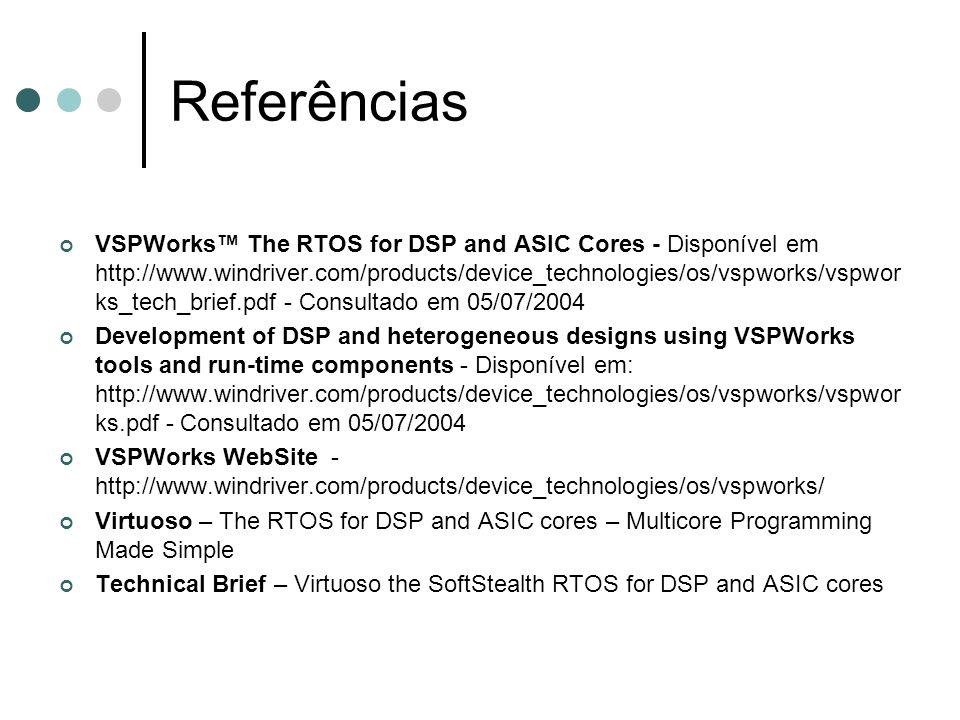 Referências VSPWorks The RTOS for DSP and ASIC Cores - Disponível em http://www.windriver.com/products/device_technologies/os/vspworks/vspwor ks_tech_