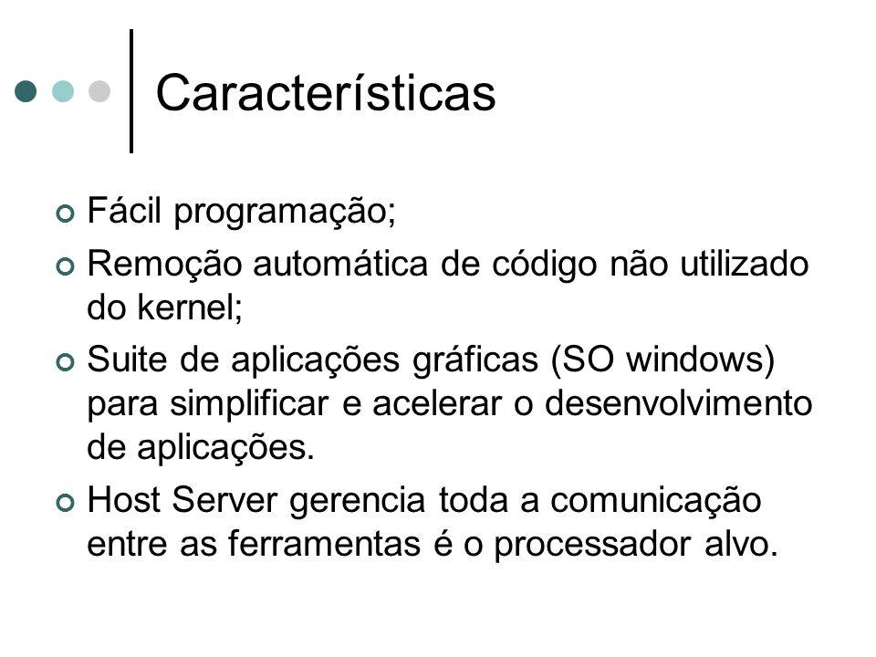 Características Fácil programação; Remoção automática de código não utilizado do kernel; Suite de aplicações gráficas (SO windows) para simplificar e