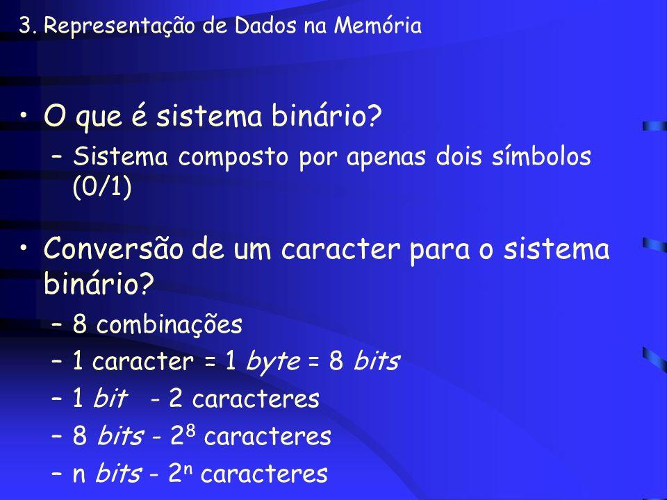 3. Representação de Dados na Memória A memória principal e a auxiliar possuem uma unidade de medida BIT x BYTE –BIT (Binary digiT): menor unidade de i