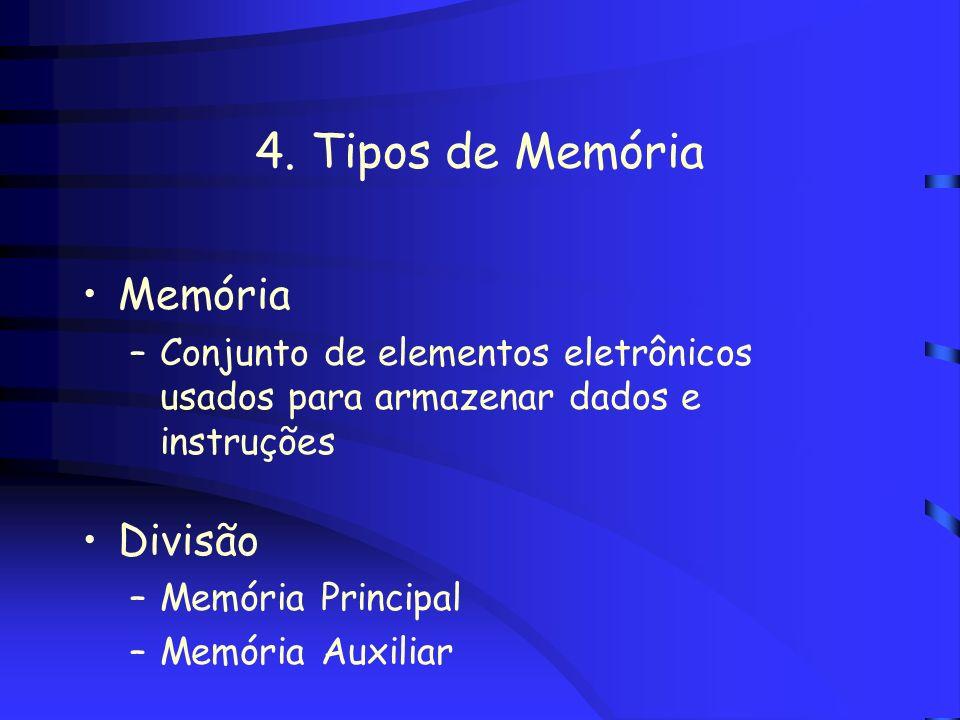 3. Representação de Dados na Memória Unidade de medida para quantificar a memória principal e indicar a capacidade de armazenamento são os múltiplos d