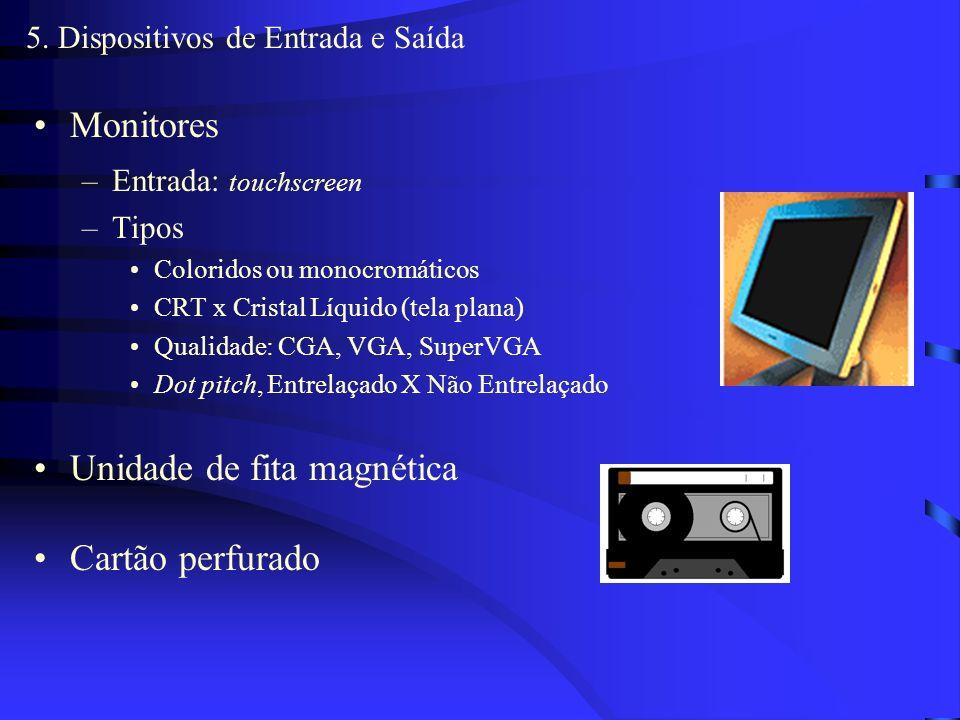 5. Dispositivos de Entrada e Saída Concretizam comunicação homem máquina Meio X Dispositivo –Meio: onde a informação está armazenada –Dispositivo: equ