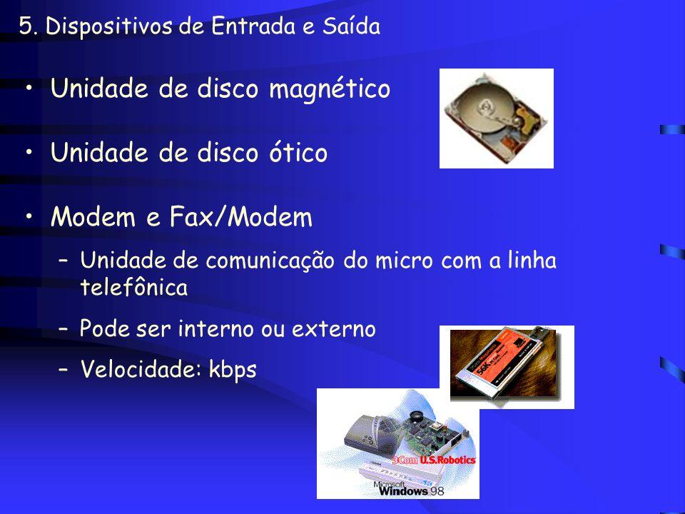 5. Dispositivos de Entrada e Saída Monitores –Entrada: touchscreen –Tipos Coloridos ou monocromáticos CRT x Cristal Líquido (tela plana) Qualidade: CG