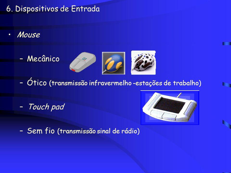 6. Dispositivos de Entrada Teclado Teclado de funções programáveis ou teclado alfanumérico Caneta luminosa - light pen –Identificação de elementos da