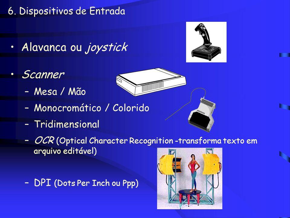 6. Dispositivos de Entrada Mouse –Mecânico –Ótico (transmissão infravermelho -estações de trabalho) –Touch pad –Sem fio (transmissão sinal de rádio)
