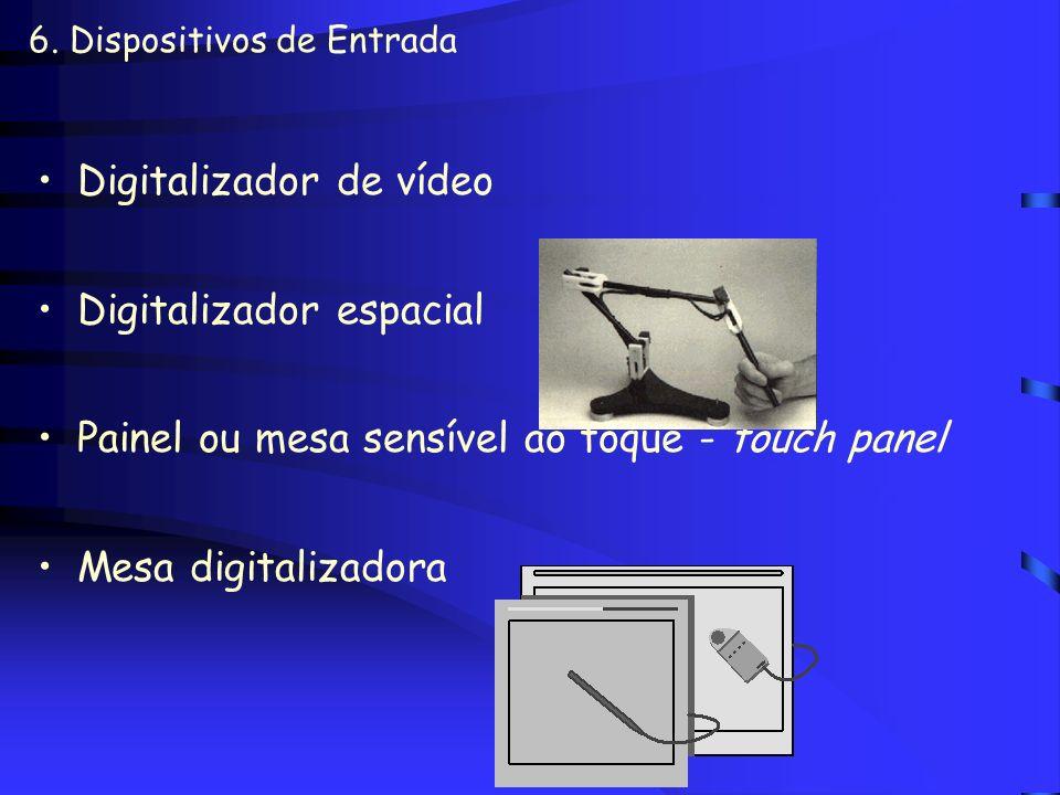 6. Dispositivos de Entrada Alavanca ou joystick Scanner –Mesa / Mão –Monocromático / Colorido –Tridimensional –OCR (Optical Character Recognition -tra