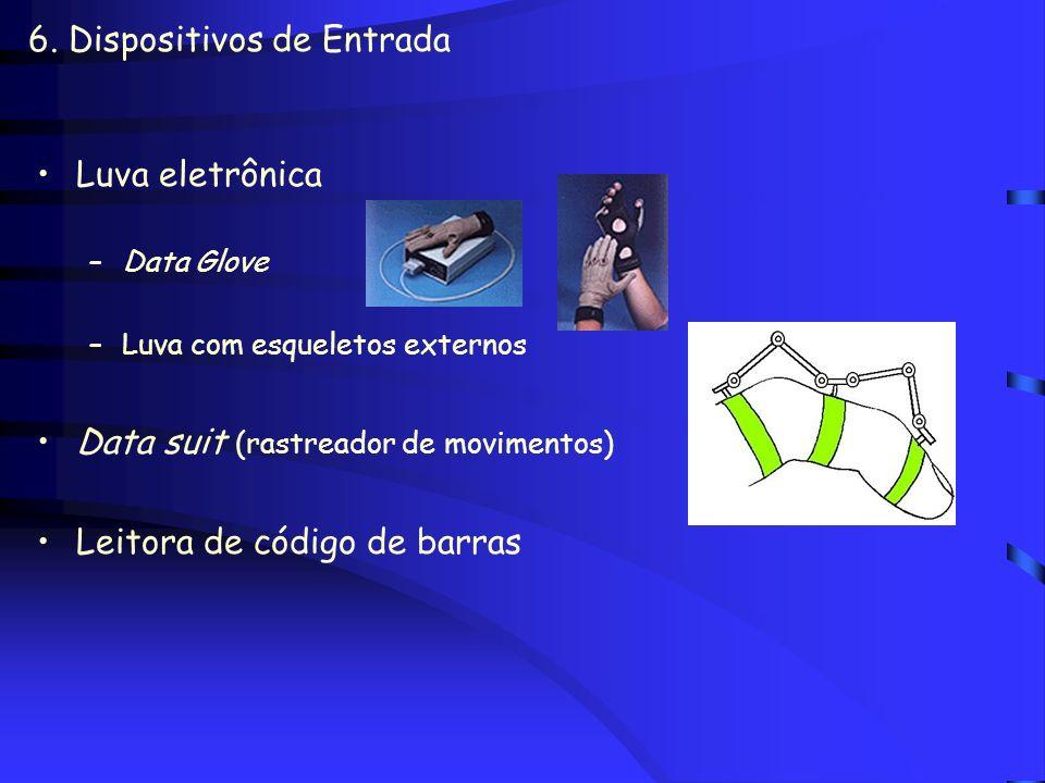6. Dispositivos de Entrada Digitalizador de vídeo Digitalizador espacial Painel ou mesa sensível ao toque - touch panel Mesa digitalizadora