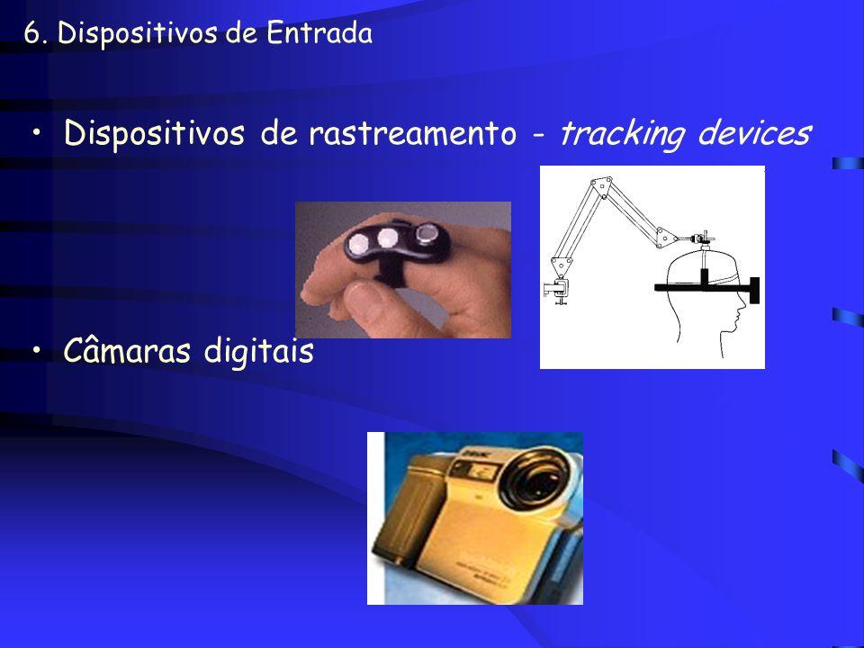 6. Dispositivos de Entrada Luva eletrônica –Data Glove –Luva com esqueletos externos Data suit (rastreador de movimentos) Leitora de código de barras
