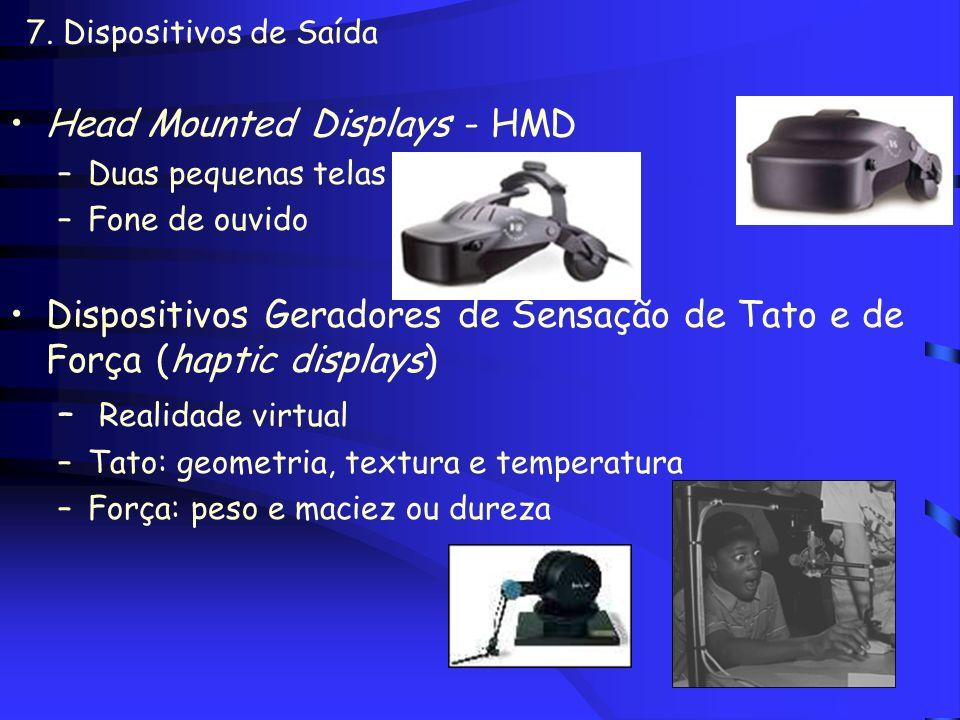 7. Dispositivos de Saída Registrador fotográfico Stereo Glasses –Visão estereoscópica –Óculos com lentes de cristal líquido capazes de bloquear a visã