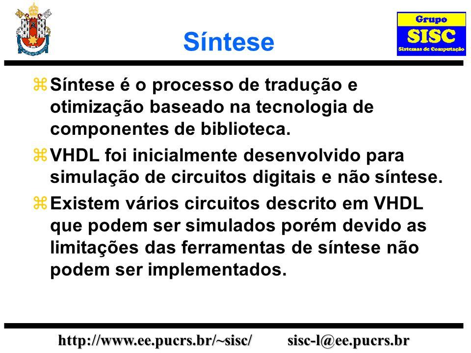 http://www.ee.pucrs.br/~sisc/ sisc-l@ee.pucrs.br Síntese Síntese é o processo de tradução e otimização baseado na tecnologia de componentes de bibliot