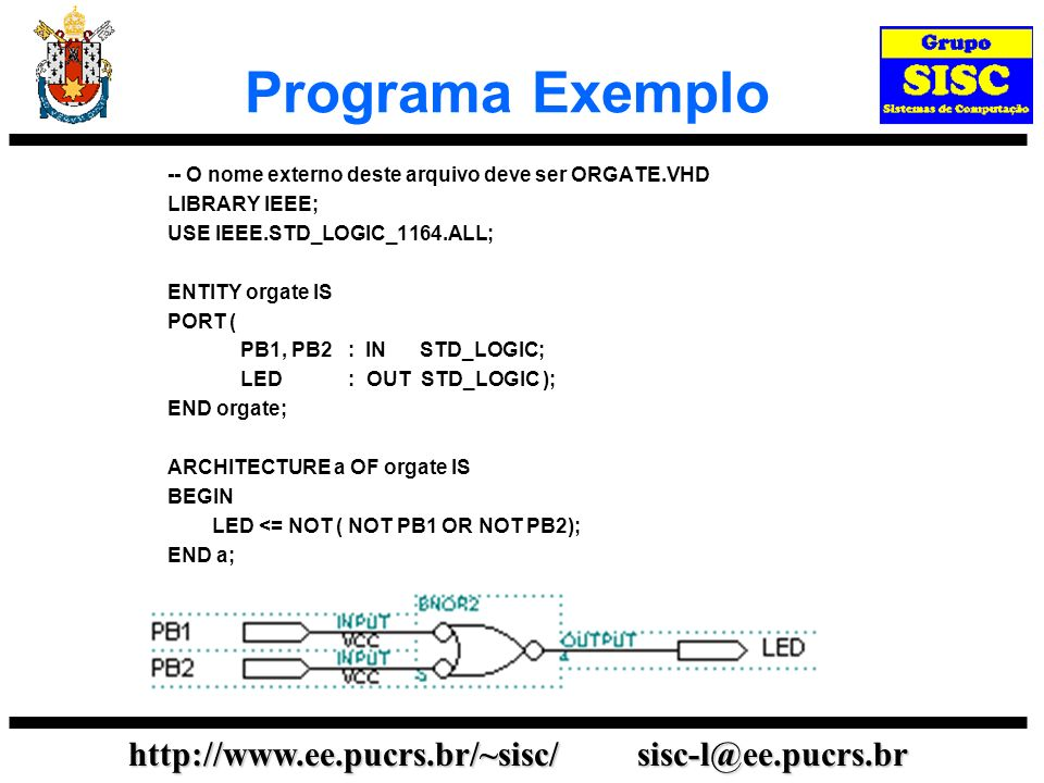 http://www.ee.pucrs.br/~sisc/ sisc-l@ee.pucrs.br Programa Exemplo -- O nome externo deste arquivo deve ser ORGATE.VHD LIBRARY IEEE; USE IEEE.STD_LOGIC
