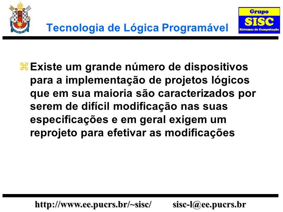 http://www.ee.pucrs.br/~sisc/ sisc-l@ee.pucrs.br Tecnologia de Lógica Programável Uma alternativa para obter flexibilidade em uma implementação consiste em usar módulos programáveis.