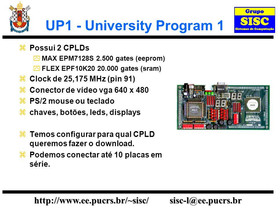 http://www.ee.pucrs.br/~sisc/ sisc-l@ee.pucrs.br UP1 - University Program 1 Possui 2 CPLDs MAX EPM7128S 2.500 gates (eeprom) FLEX EPF10K20 20.000 gates (sram) Clock de 25,175 MHz (pin 91) Conector de vídeo vga 640 x 480 PS/2 mouse ou teclado chaves, botões, leds, displays Temos configurar para qual CPLD queremos fazer o download.