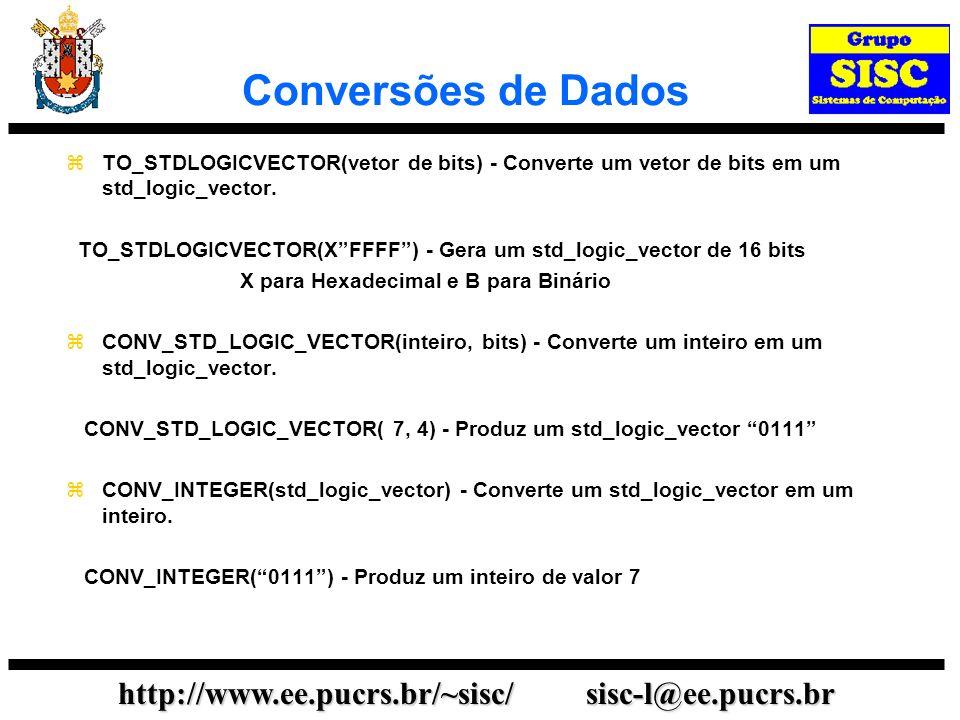http://www.ee.pucrs.br/~sisc/ sisc-l@ee.pucrs.br Conversões de Dados TO_STDLOGICVECTOR(vetor de bits) - Converte um vetor de bits em um std_logic_vect