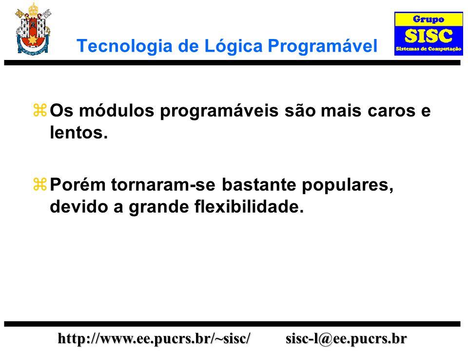 http://www.ee.pucrs.br/~sisc/ sisc-l@ee.pucrs.br Tecnologia de Lógica Programável Existem vários tipos de módulos programáveis tais como: ROM - Memória Somente de Leitura PAL - Matriz de Lógica Programável CPLD - Dispositivos Lógicos Programáveis Complexos (Complex Programmable Logic Devices) FPGA - Matriz de Portas Programáveis em Campo (Field Programmable Gate Array)