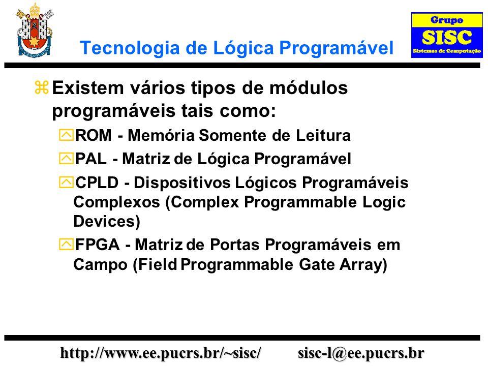 http://www.ee.pucrs.br/~sisc/ sisc-l@ee.pucrs.br FPGAs e CPLDs São módulos VLSI que podemos programar para implementar sistemas digitais com dezenas de milhares de portas.