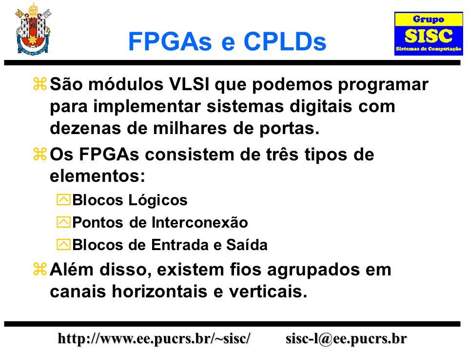 http://www.ee.pucrs.br/~sisc/ sisc-l@ee.pucrs.br FPGAs e CPLDs São módulos VLSI que podemos programar para implementar sistemas digitais com dezenas d