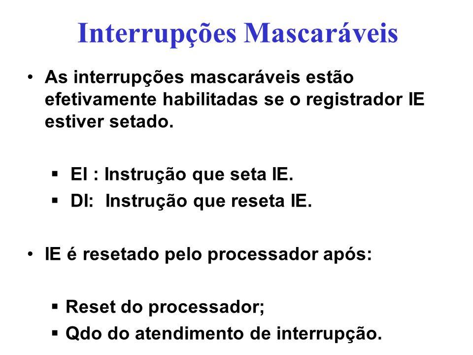 Interrupções Mascaráveis As interrupções mascaráveis estão efetivamente habilitadas se o registrador IE estiver setado. EI : Instrução que seta IE. DI