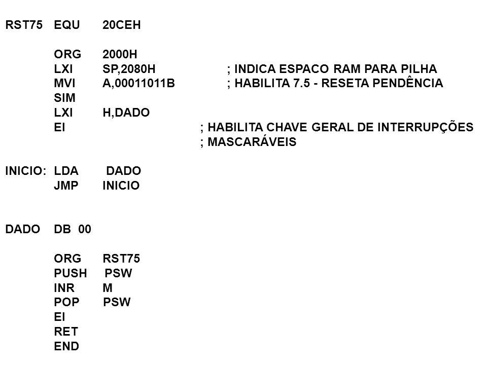 RST75EQU 20CEH ORG 2000H LXI SP,2080H ; INDICA ESPACO RAM PARA PILHA MVI A,00011011B ; HABILITA 7.5 - RESETA PENDÊNCIA SIM LXI H,DADO EI ; HABILITA CH