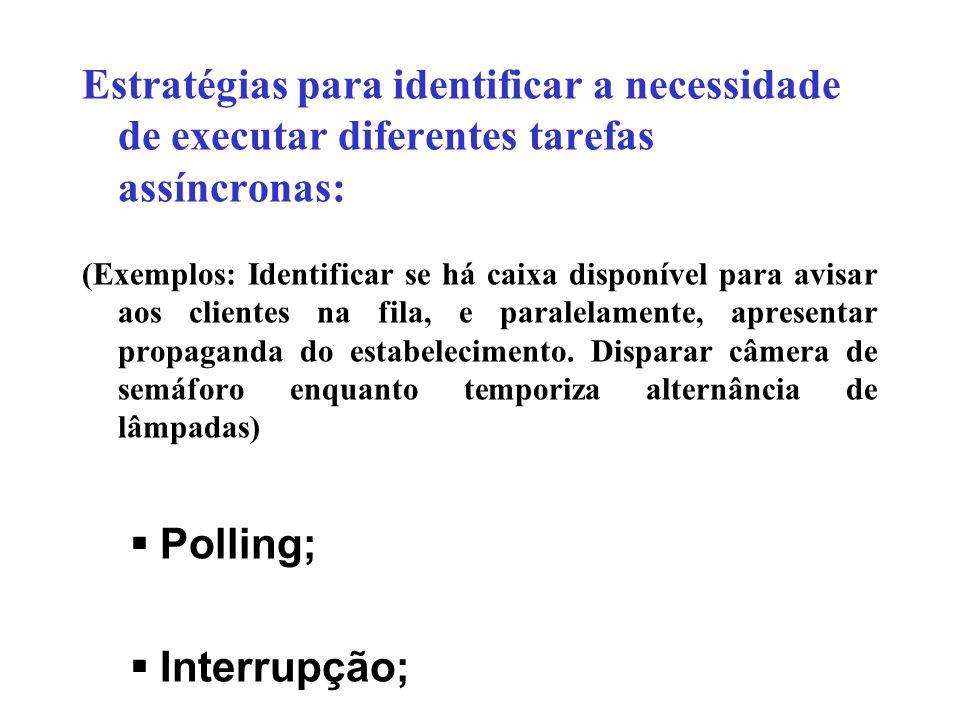 Estratégias para identificar a necessidade de executar diferentes tarefas assíncronas: (Exemplos: Identificar se há caixa disponível para avisar aos c