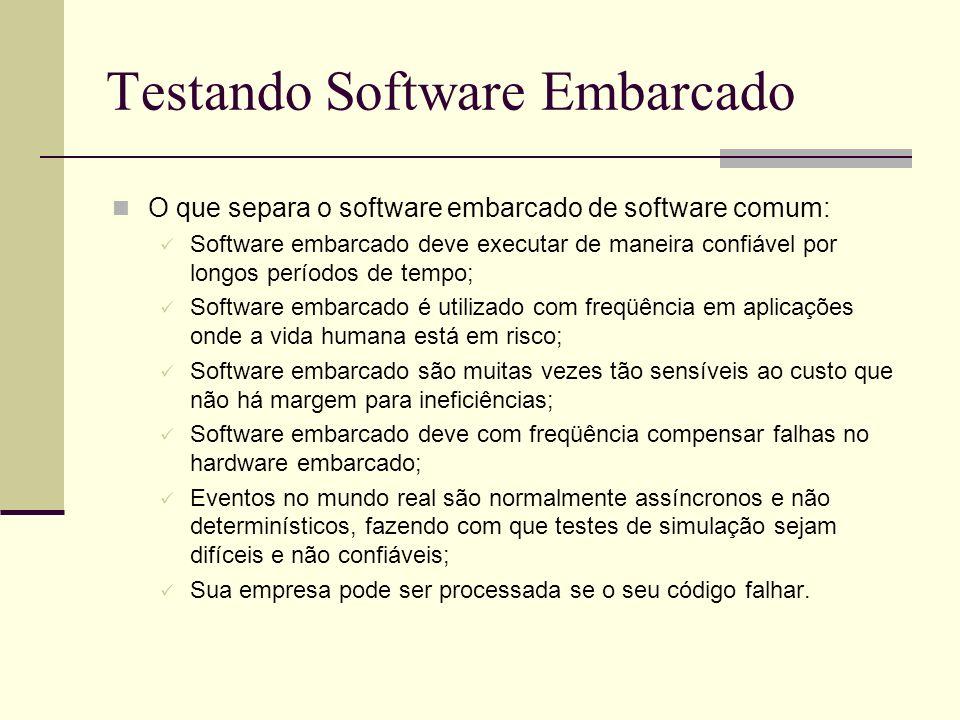 13/4/2005Seminário da disciplina de PPD – PPGCC - PUCRS Testando Software Embarcado O que separa o software embarcado de software comum: Software emba