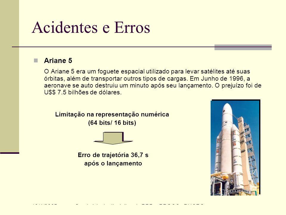 13/4/2005Seminário da disciplina de PPD – PPGCC - PUCRS Acidentes e Erros Ariane 5 O Ariane 5 era um foguete espacial utilizado para levar satélites a