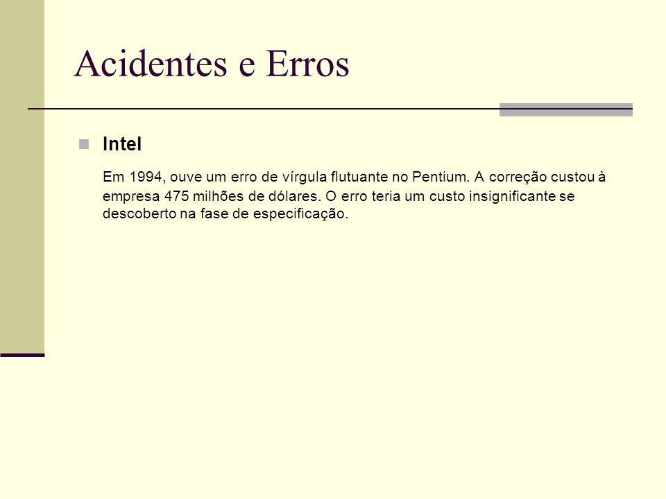 13/4/2005Seminário da disciplina de PPD – PPGCC - PUCRS Acidentes e Erros Intel Em 1994, ouve um erro de vírgula flutuante no Pentium. A correção cust