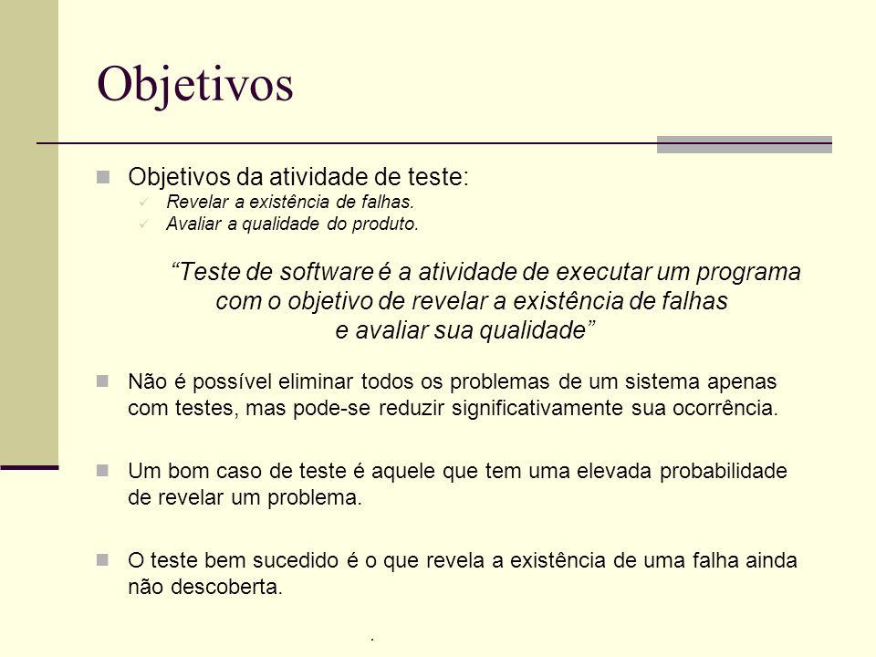 13/4/2005Seminário da disciplina de PPD – PPGCC - PUCRS Objetivos Objetivos da atividade de teste: Revelar a existência de falhas. Avaliar a qualidade