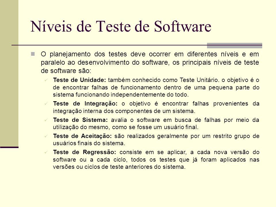 13/4/2005Seminário da disciplina de PPD – PPGCC - PUCRS Níveis de Teste de Software O planejamento dos testes deve ocorrer em diferentes níveis e em p
