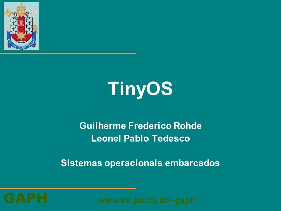 GAPH www.inf.pucrs.br/~gaph TinyOS Guilherme Frederico Rohde Leonel Pablo Tedesco Sistemas operacionais embarcados