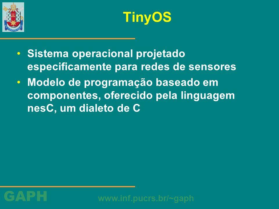 GAPH www.inf.pucrs.br/~gaph TinyOS Sistema operacional projetado especificamente para redes de sensores Modelo de programação baseado em componentes,