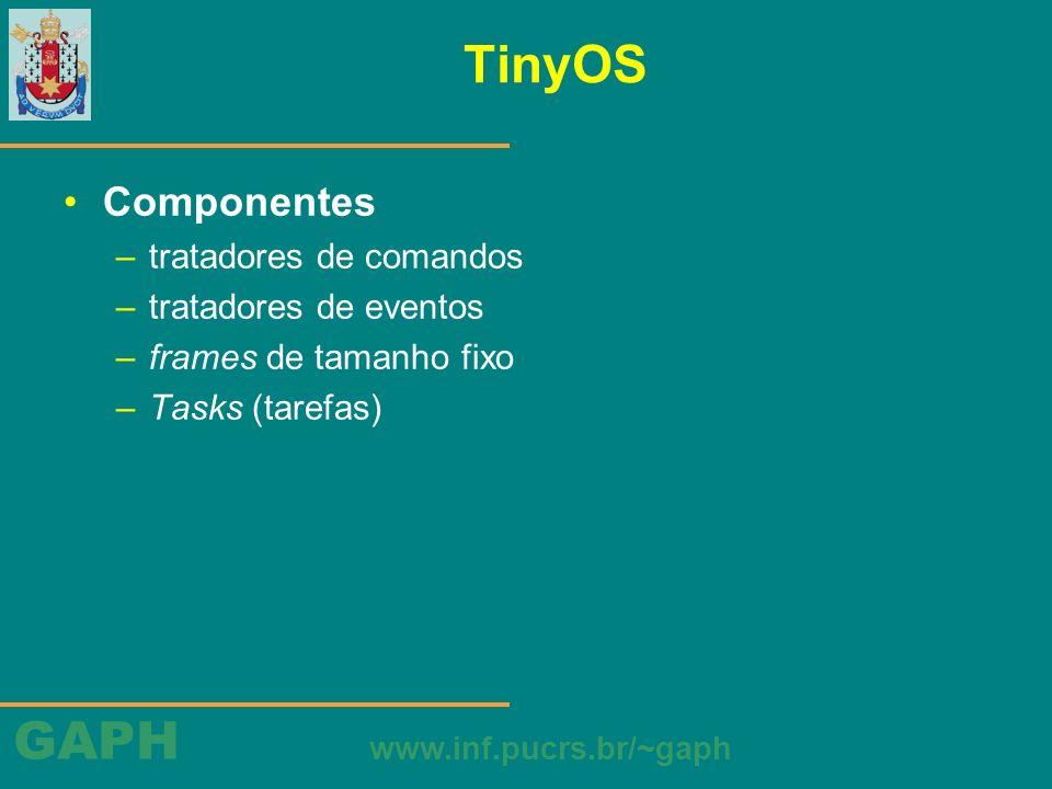GAPH www.inf.pucrs.br/~gaph TinyOS Componentes –tratadores de comandos –tratadores de eventos –frames de tamanho fixo –Tasks (tarefas)