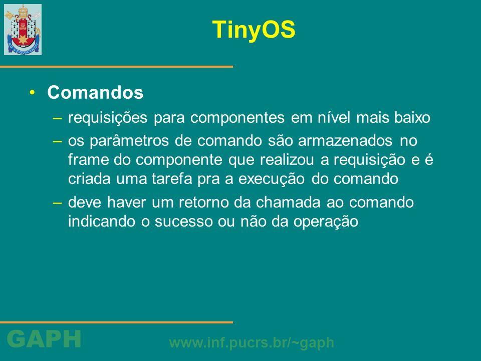 GAPH www.inf.pucrs.br/~gaph TinyOS Comandos –requisições para componentes em nível mais baixo –os parâmetros de comando são armazenados no frame do co