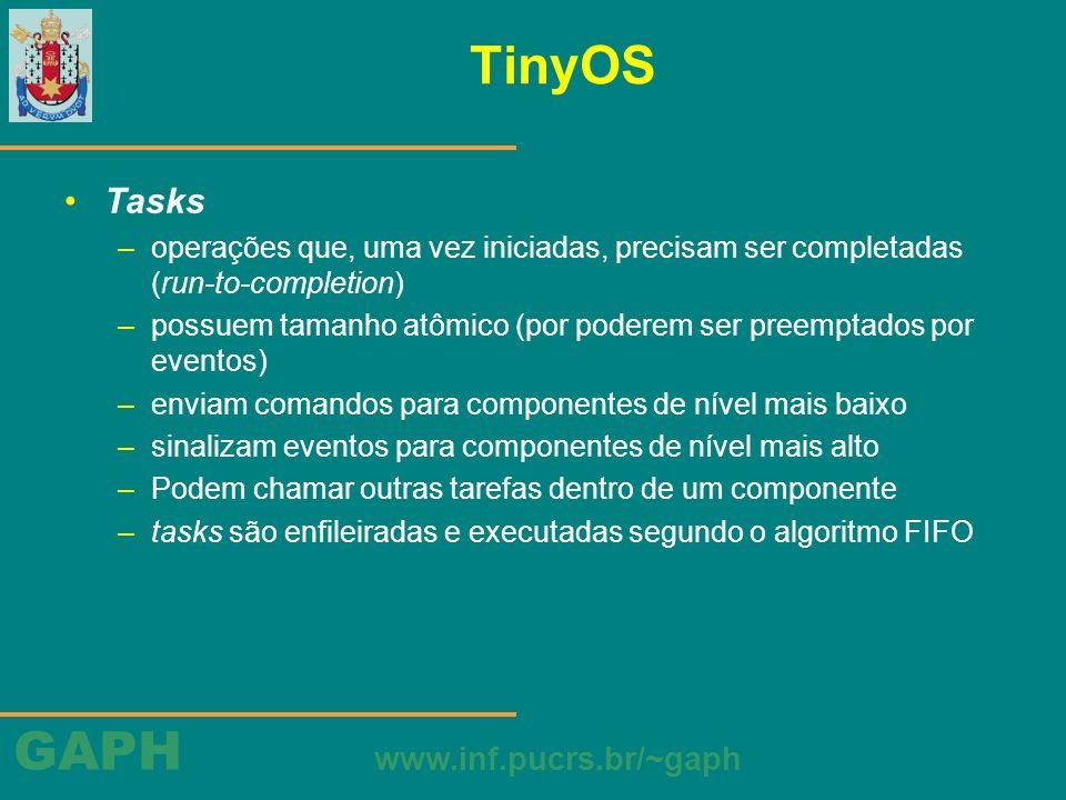 GAPH www.inf.pucrs.br/~gaph TinyOS Tasks –operações que, uma vez iniciadas, precisam ser completadas (run-to-completion) –possuem tamanho atômico (por