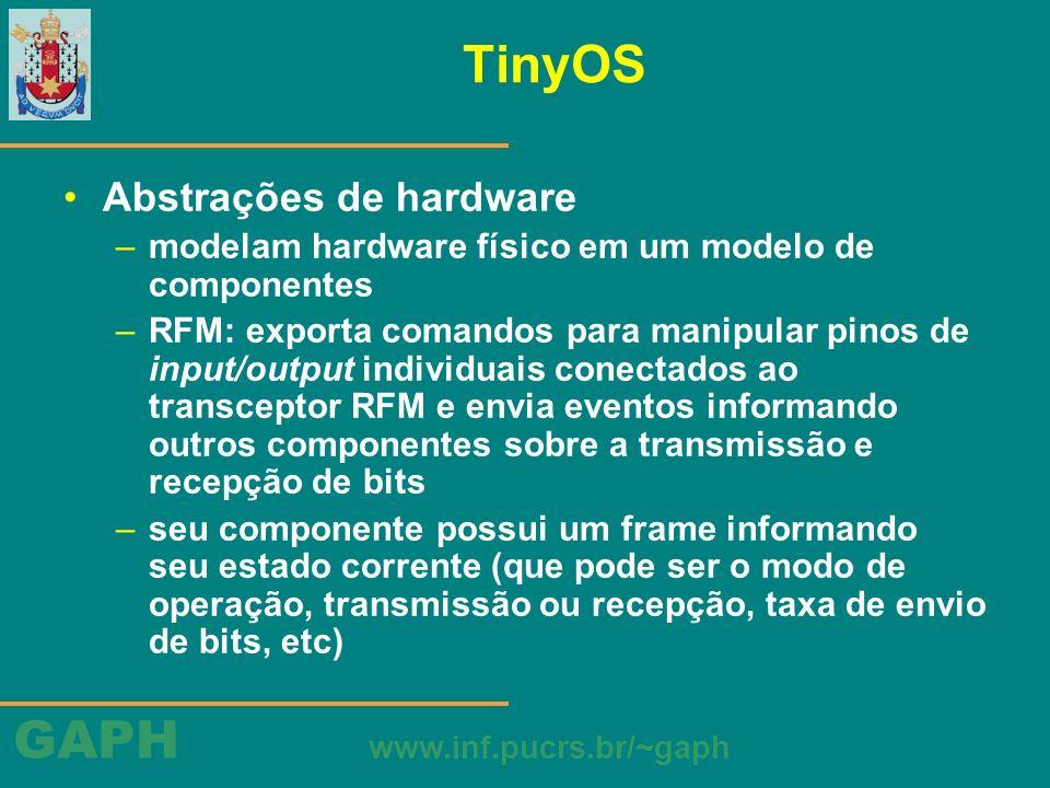 GAPH www.inf.pucrs.br/~gaph TinyOS Abstrações de hardware –modelam hardware físico em um modelo de componentes –RFM: exporta comandos para manipular p