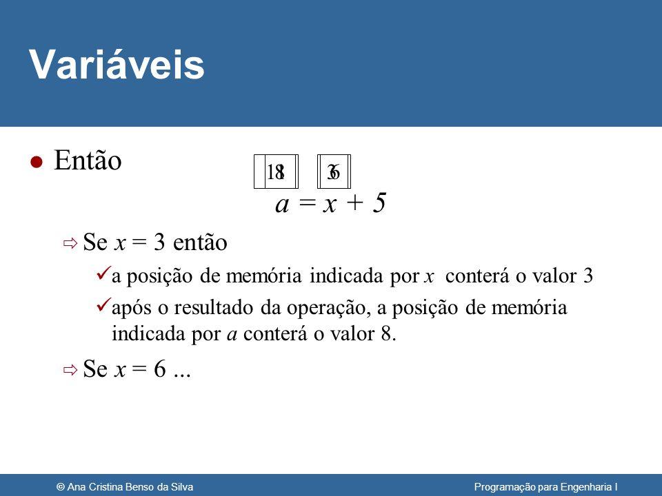 © Ana Cristina Benso da Silva Programação para Engenharia I Variáveis l Então a = x + 5 Se x = 3 então a posição de memória indicada por x conterá o v