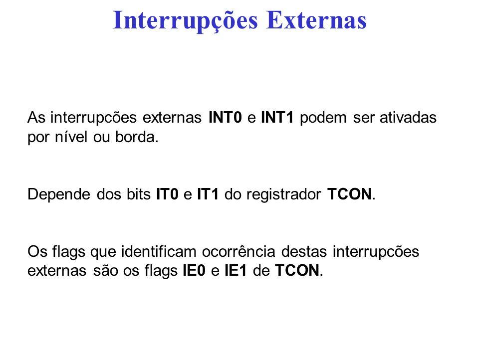 As interrupcões externas INT0 e INT1 podem ser ativadas por nível ou borda. Depende dos bits IT0 e IT1 do registrador TCON. Os flags que identificam o